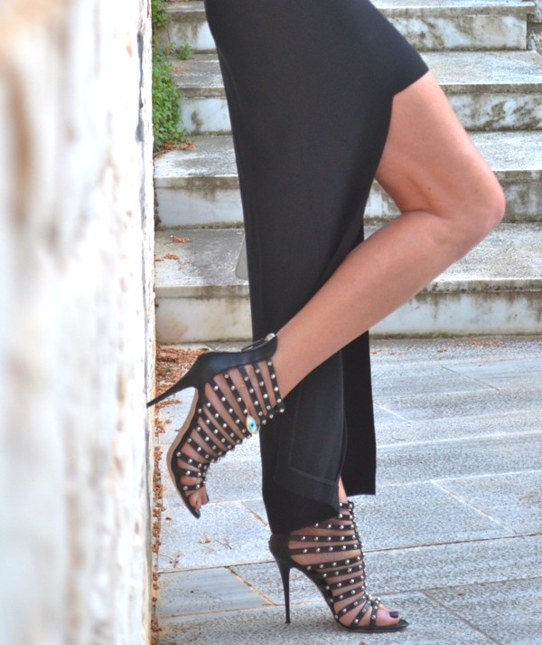 spiked booties, asymmetric skirt
