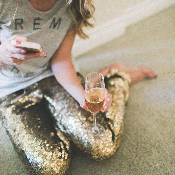 sequined pants silver