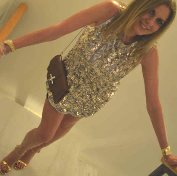 Sparkling Silver and Gold Sequin Dress