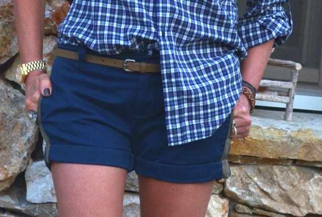 checked shirt Oysho,  Joie shorts