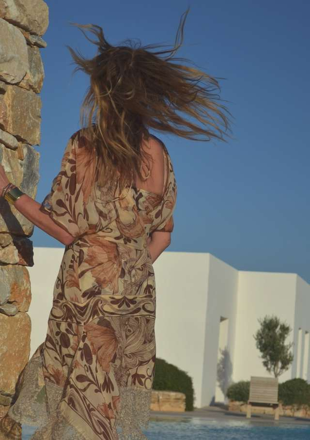 silk brown long dress Greece