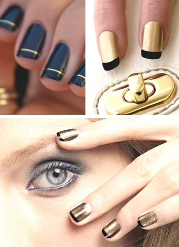 black and gold nails manicures