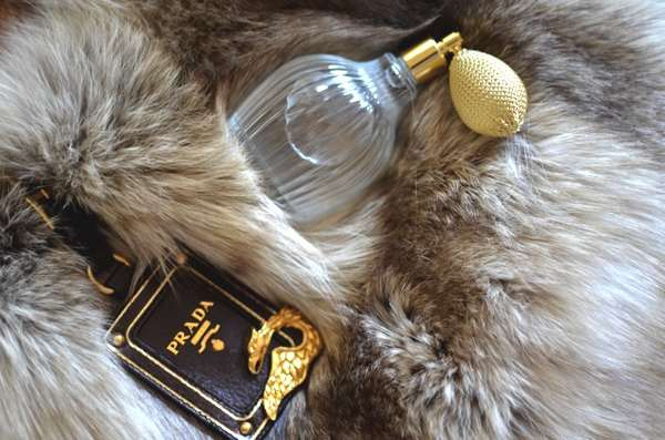 Prada fur bag and Crabtree Evelyn perfume