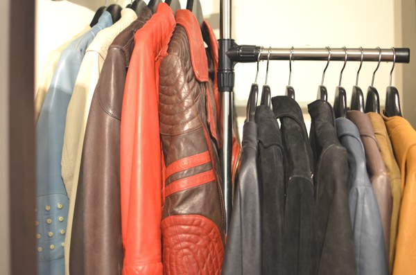 Black wooden hanger leather jackets