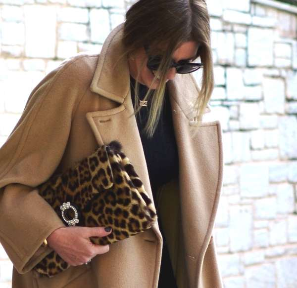 Camel coat and leopard bag