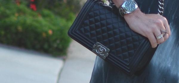 Chanel boy bag Rolex watch, x ring