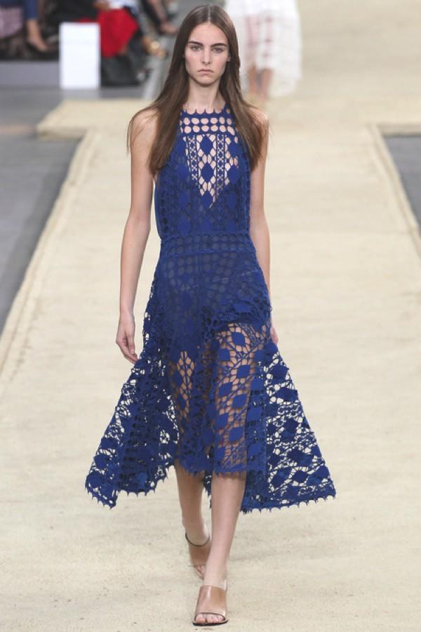 Chloe blue lace dress SS 2014