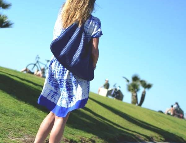 Cobalt Blue Calvi silk v-neck High- Low mini dress