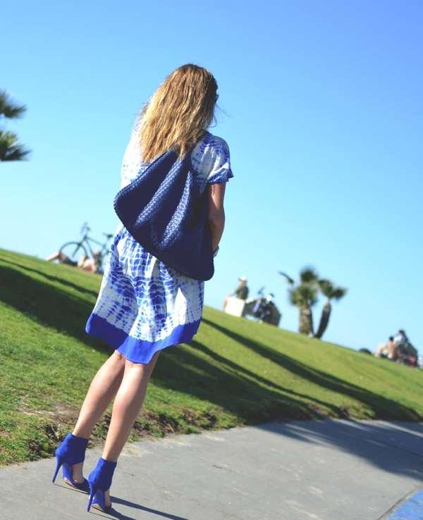 Cobalt Blue Calvi silk v-neck High- Low mini dress- flat sandals