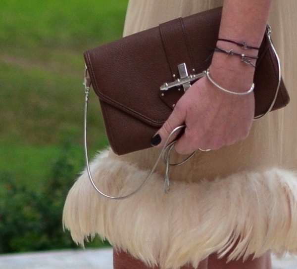 Gucci skirt feathers, Givenchy obsedia bag