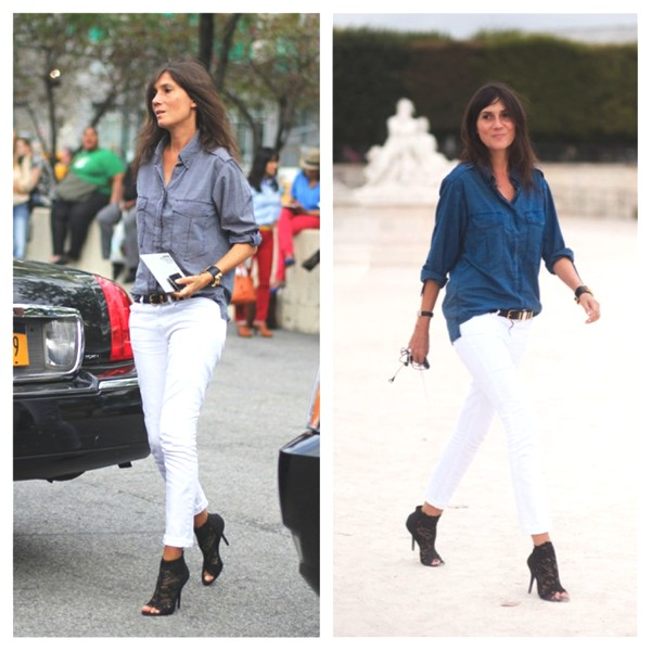 How To wear Celebrity Style Perfect Fitting Denim Emmanuelle Alt whie jeans