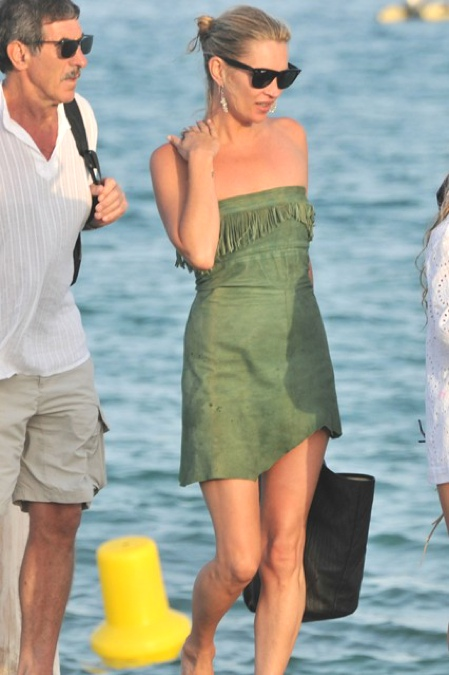 Kate Moss 2011 suede green dress