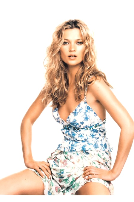 Kate Moss with long wavy long hair