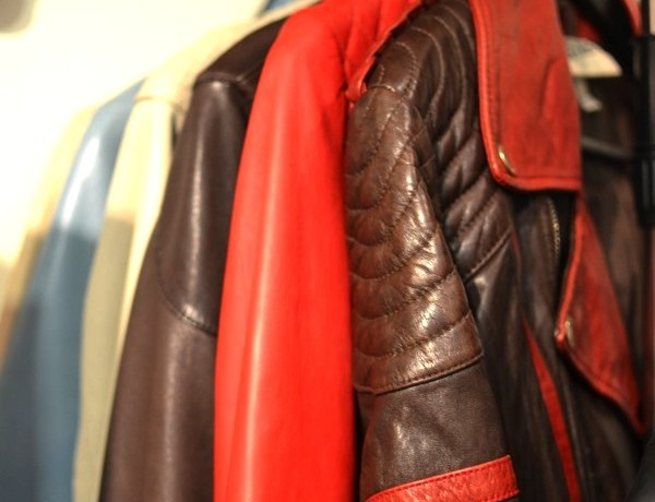 Leather jackets black wooden hangers