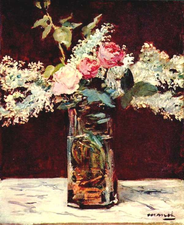 Still life, lilac and roses by Manet