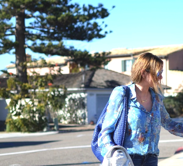 floral print Zara shirt street style