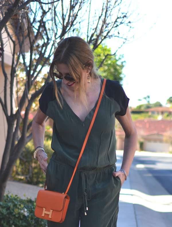 jumpsuit silk gypsy05, Hermes orange bag, miu miu round sunglasses
