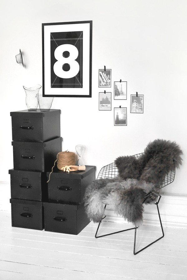 black boxes and chair