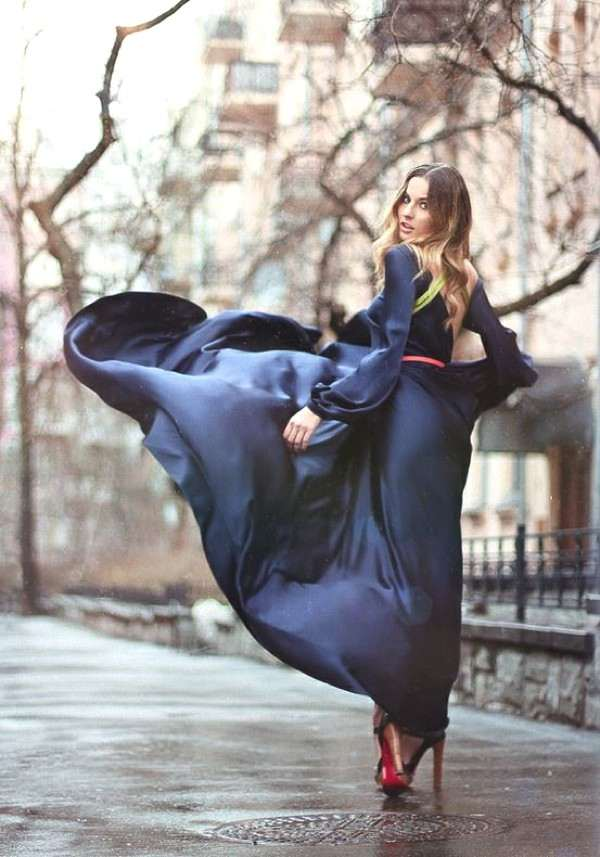 black long silk dress