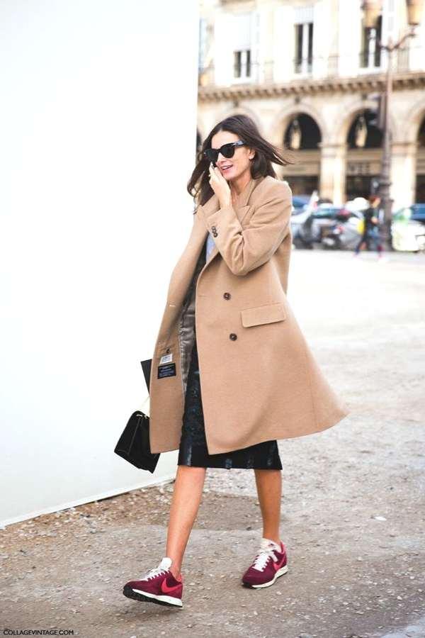 camel coat sneakers street style