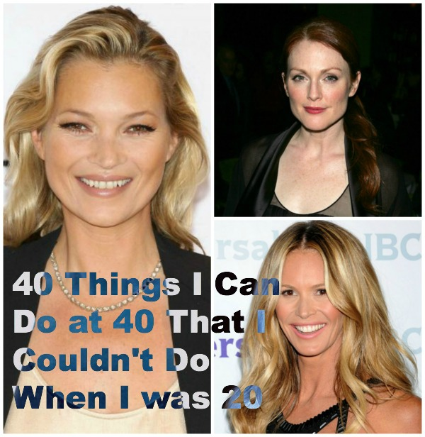celebrtities 40 years old, Kate Moss, Elle McPherson, Julian Moore collage