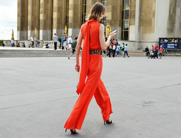 orange jumpsuit streetstyle