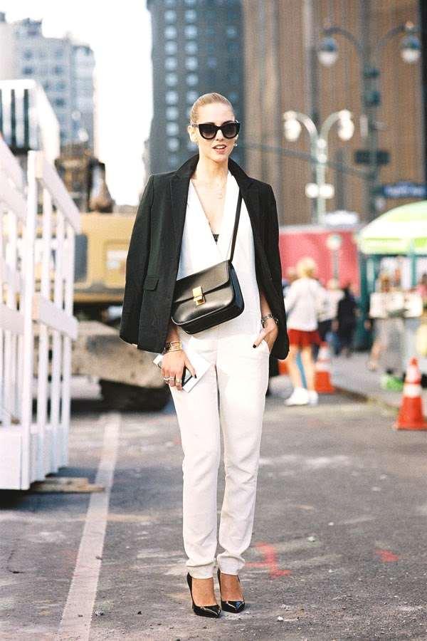 Chiara Ferragni wearing a white jumpsuit