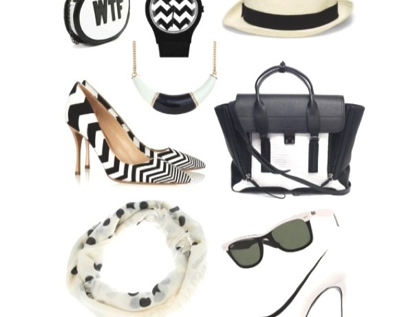 Black and white accessories collage