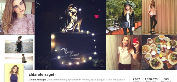 Chiara Ferragni profile on Instagram