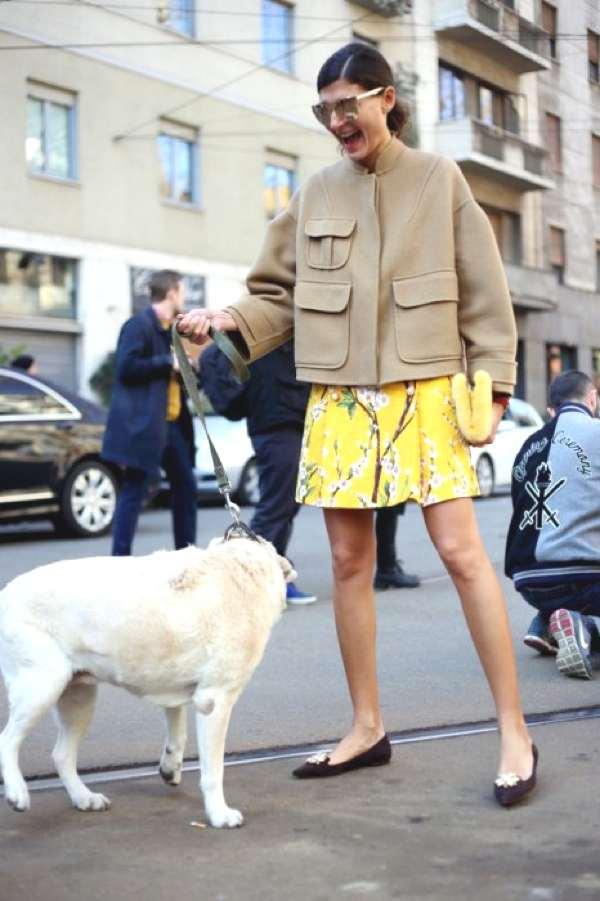 Giovanna Battaglia outside of Dolce & Gabbana-MFW street style 2014