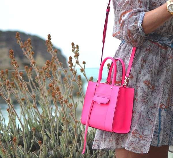 Gypsy05 silk mini dress Pink tote