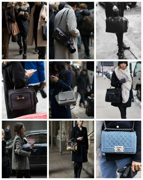NYFW Street style collage  bag review