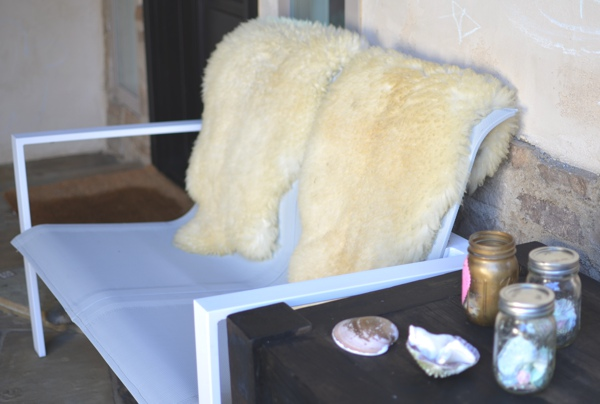 Babmar furniture and sheepskin rug