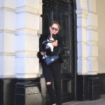 London Casual black and white Outfit with my baby Dog Spot