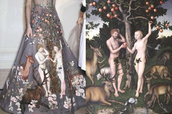 Valentino Haute Couture Spring 2014 backstage | Adam and Eve, painting by Lucas Cranach the Elder, 1526