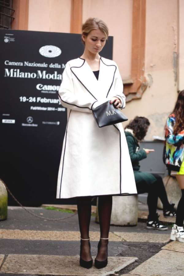 Milan Fashion Week street style 2014 white coat