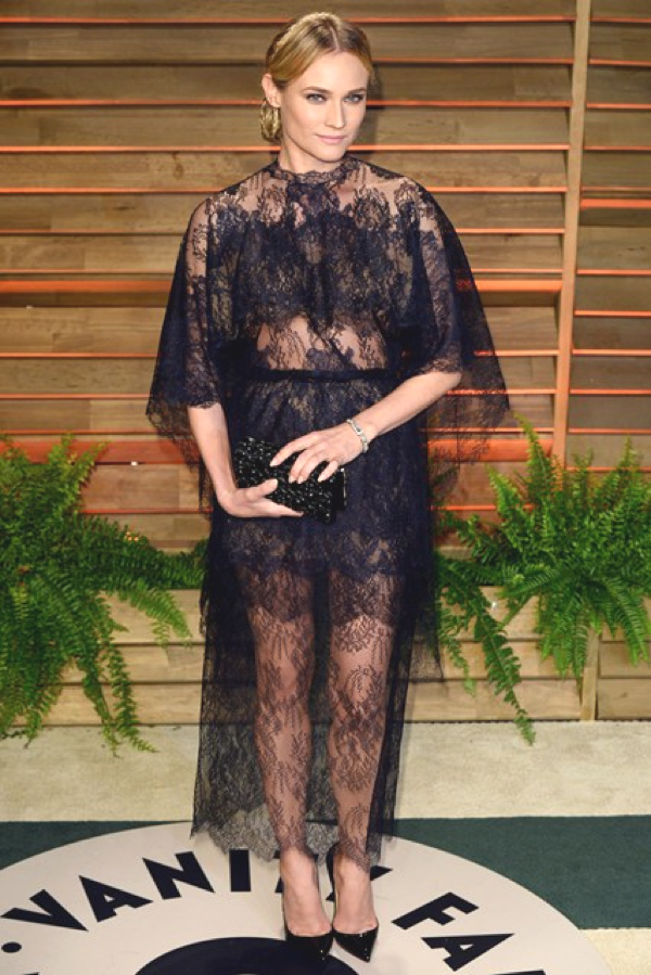 Diane-Kruger black see through lace dress
