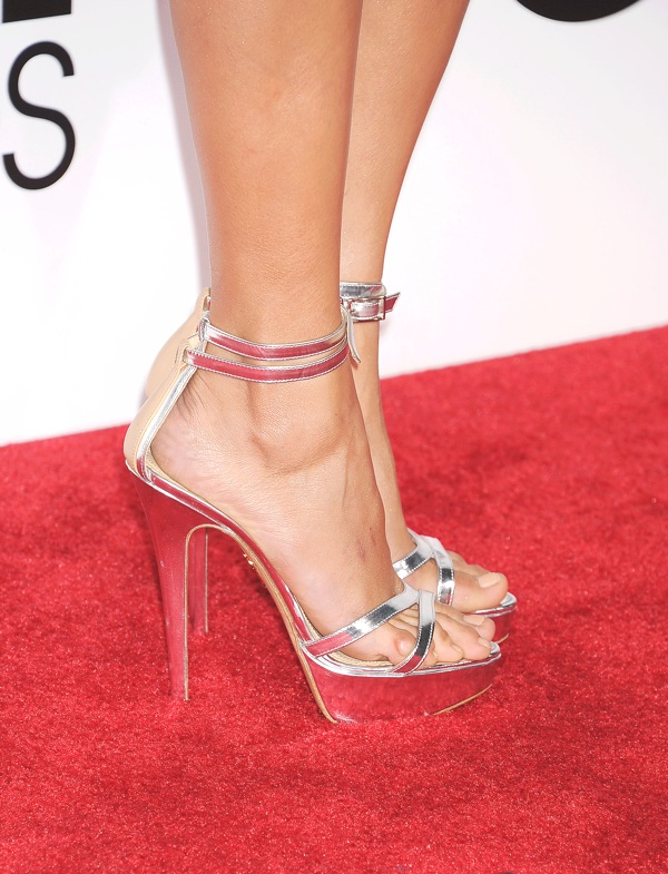Nina Dobrev silver shoes
