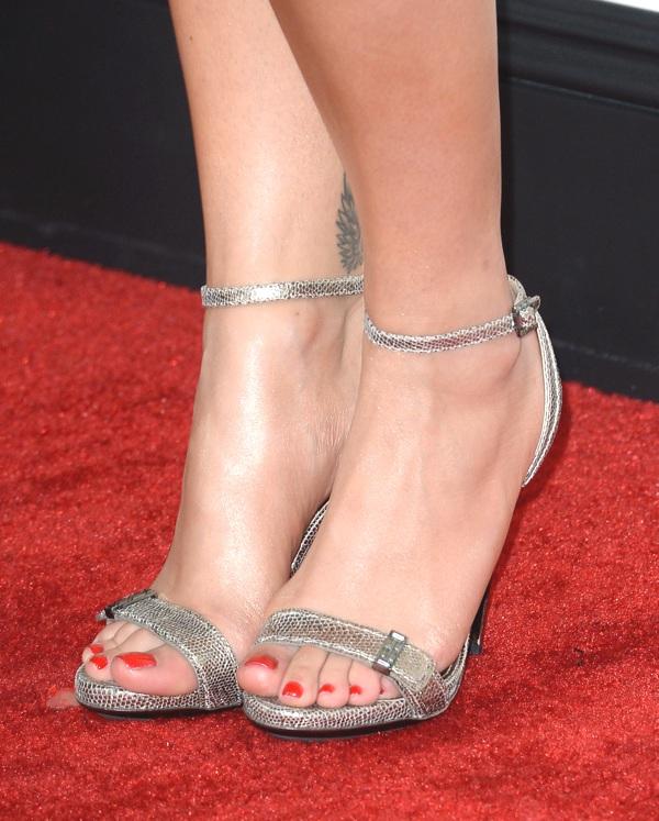 Rita Ora silver sandals