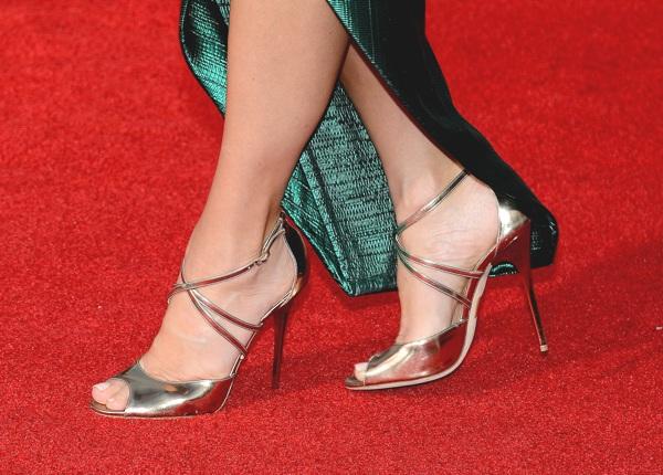 Sandra Bullock silver sandals