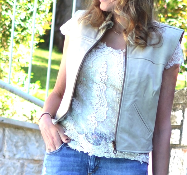 Street Style Lace, leather  vest, jeans