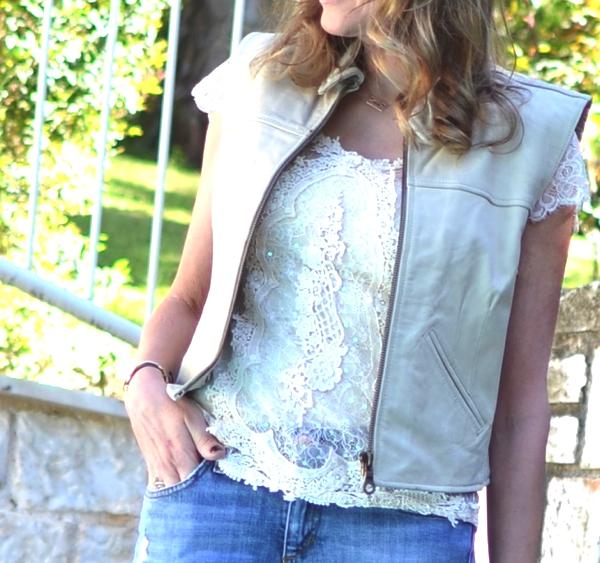 Street Style Lace, leather  vest, jeans