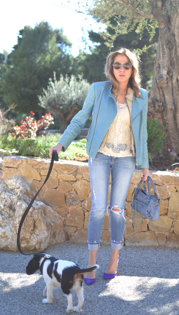 Street Style Lace, leather , jeans and Manolo Blahnik04
