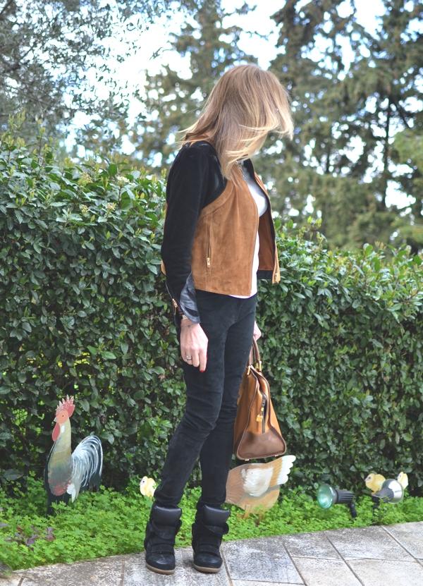 H&M Trend Color Block Leather Jacket black brown