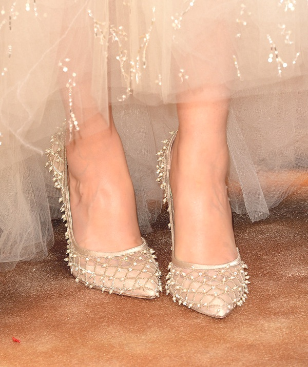 Zooey Deschanel crystal embellished pumps