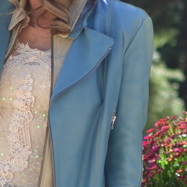 Blue leather jacket and lace