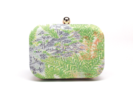 Japanese Village Clucth- A vintage Japanese kimono silk covers this clutch.
