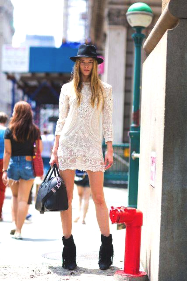 lace mini dress street style