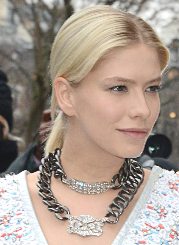 Elena Perminova two necklaces