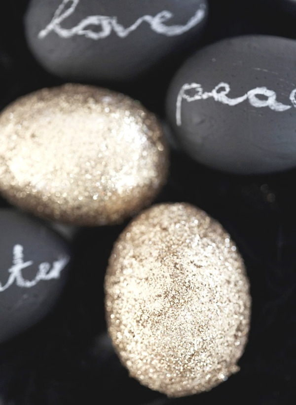 Inspiring ideas Easter Eggs Decoration gold glitter and written